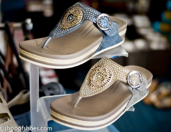 Womens summer toe post mule sandal with embosed jewel design in blue or light gold